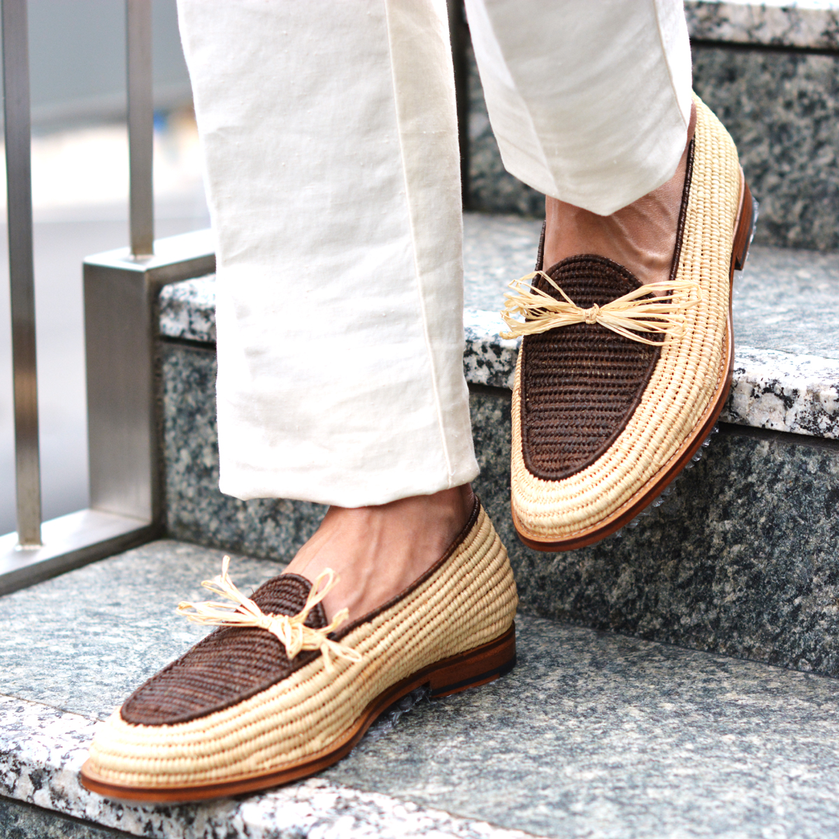Contre-Allee【コントレアリー】リボンローファー Souliers BERNOUSSI Natural×Brown ラフィア ブラウン