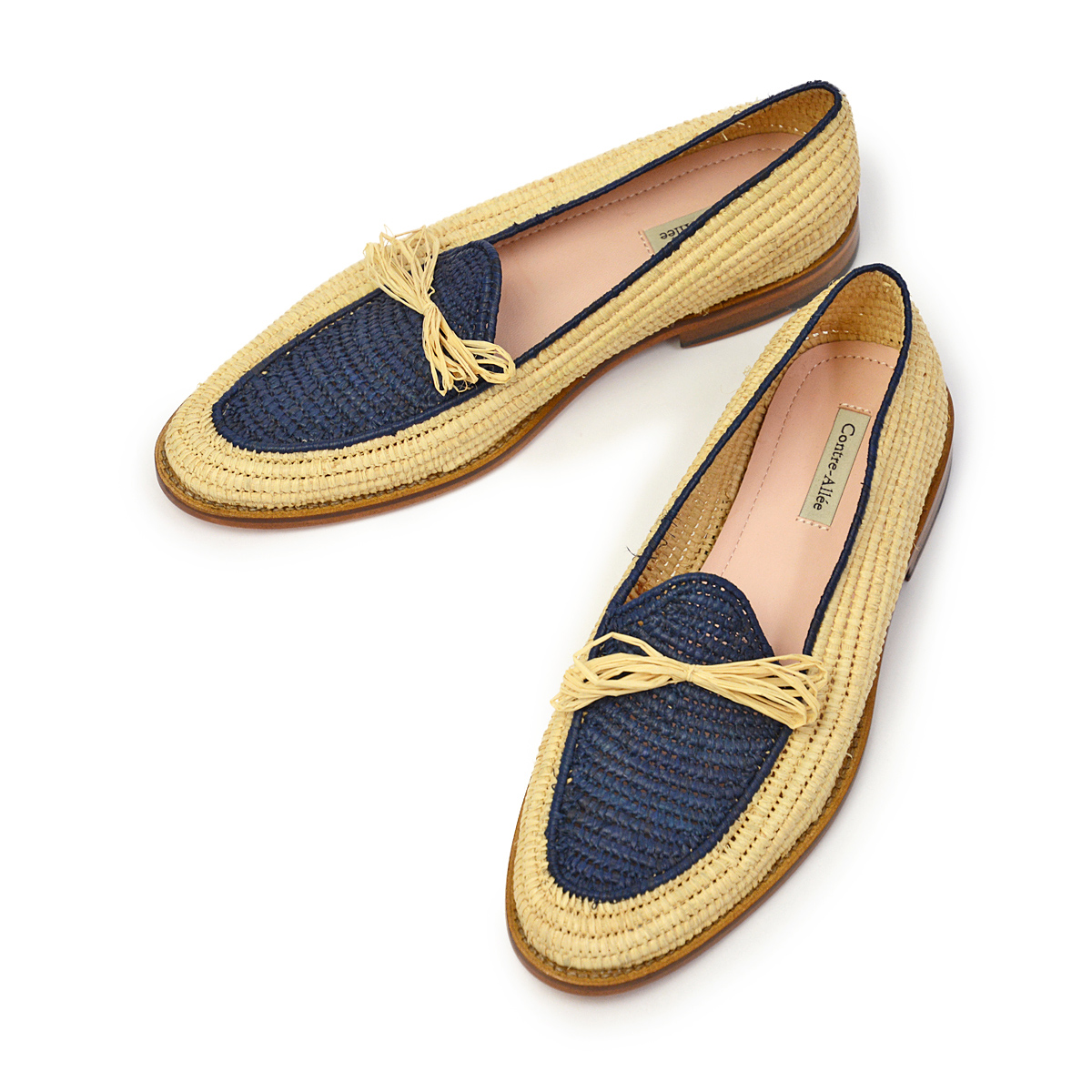 Contre-Allee【コントレアリー】リボンローファー Souliers BERNOUSSI Natural×Navy ラフィア ネイビー
